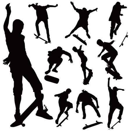 Jumping on skate board silhouettes vector collection. Illustration of ten black poses on white background. Vector