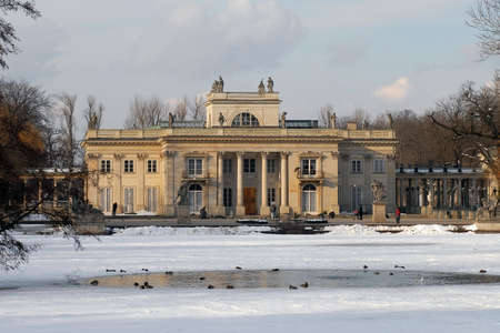 neoclassic: Royal Palace in Lazienki park in Warsaw during winter season. South facade view.  Stock Photo