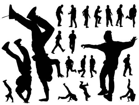 street dance: Twenty dynamic dancing boys black silhouettes on white background.