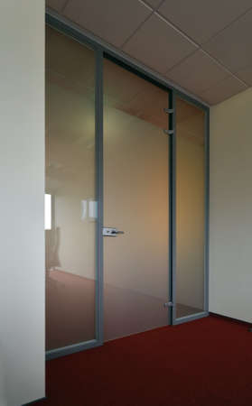 glass door: Internal  office glass doors. Stock Photo