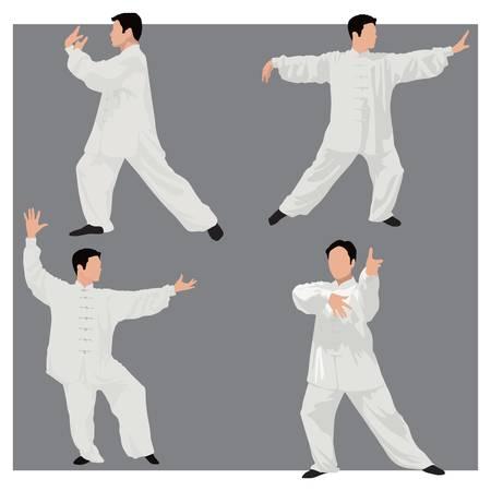 chi: cuatro formas de tai-chi. Vectores
