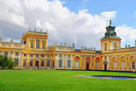 Royal Palace facade in Wilanow in Warsaw