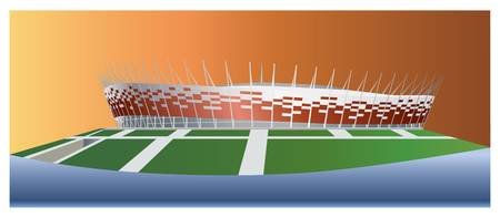 warsaw: National Stadium in Warsaw color vector illustration.