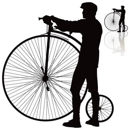 Men standing with retro bicycle.  Stock Vector - 11595142