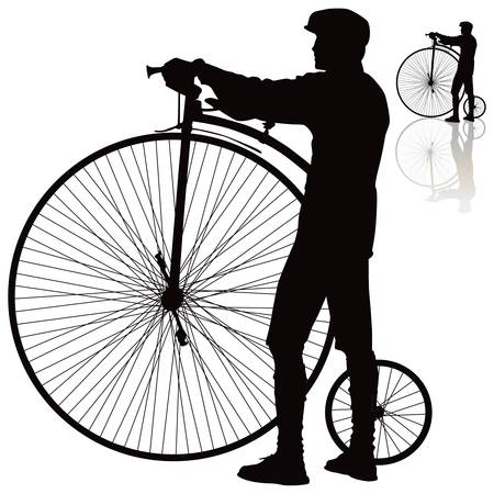 one wheel bike: Men standing with retro bicycle.