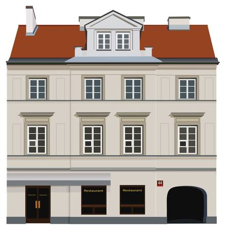 poland: Facade of building from Warsaw. Famous Nowy Swiat street.