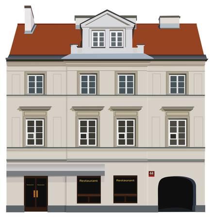 fachada: Fachada del edificio de Varsovia. Famosa calle Nowy Swiat. Vectores