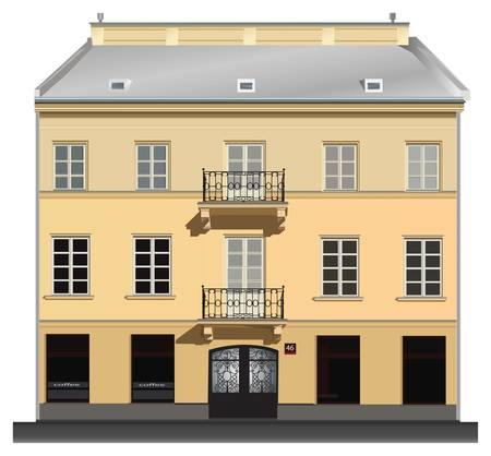 Facade of building from Warsaw. Famous Nowy Swiat street.  Vector
