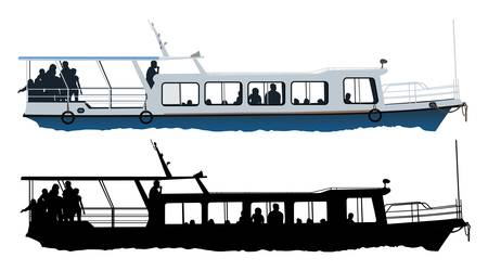 Small passenger ship color illustration on white background