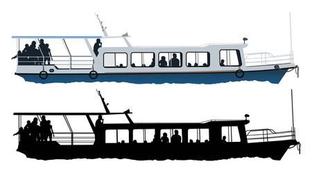 Small passenger ship color illustration on white background