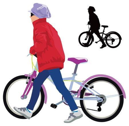 Small girl walking with bike  Spring casual clothes  Vector color illustration  Stock Vector - 13058663