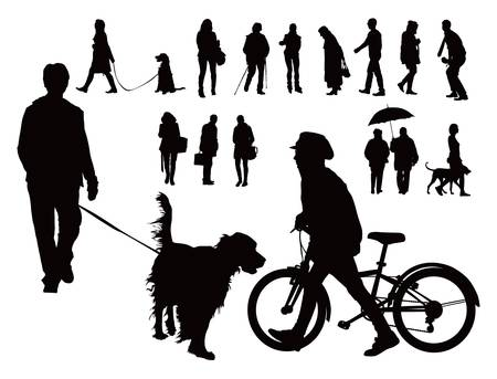Over ten black vector silhouettes  People walking with dogs, alone and with bicycle  Spring casual clothes  Vector