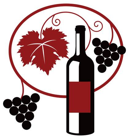 black grape: Grape wine simple two color illustration
