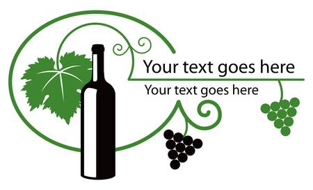 food label: Two color illustration  Bottle of wine and grapes with dedicated space for text