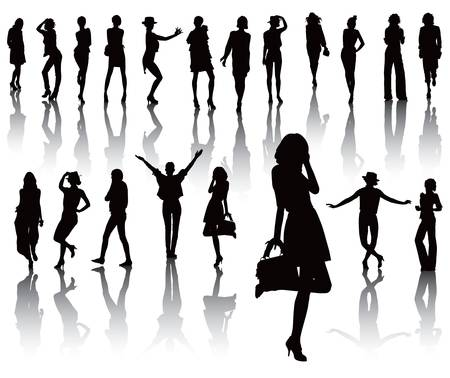 Twenty model black silhouettes over white with shadow. Fashion cloths. Stock Vector - 13952938