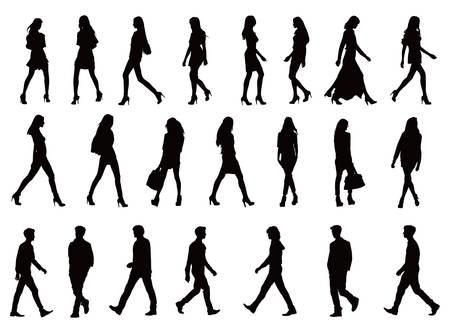 Ber zwanzig junge Menschen Silhouetten Standard-Bild - 14252415