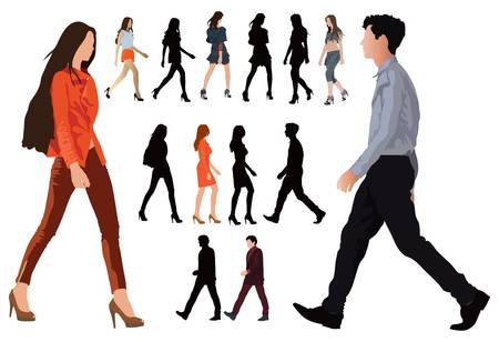 perfect body: Group of elegant dressed in fashion clothes young people. Long legs and perfect body proportions. Vector color illustration on white.