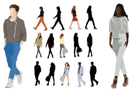 Gruppo di eleganti vestiti di moda vestiti giovani. Gambe lunghe e proporzioni perfette del corpo. Illustrazione a colori vettoriale su bianco.