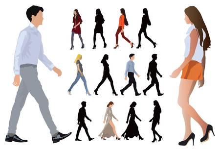 우아한 그룹은 패션 의류 젊은 사람들의 옷을 입고있다. 긴 다리와 완벽한 몸의 비율. 흰색에 벡터 색 그림.