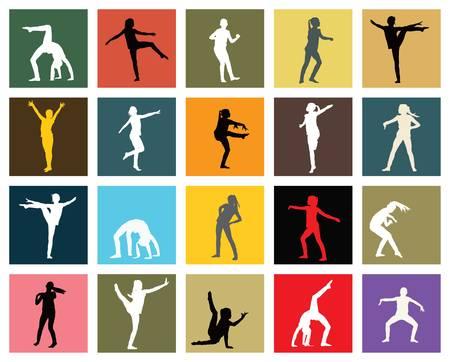 Twintig silhouetten van jonge meisje dansen jazz
