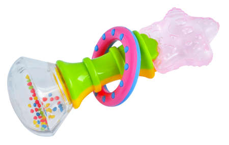 teether: Rattle teether isolated with path on white background