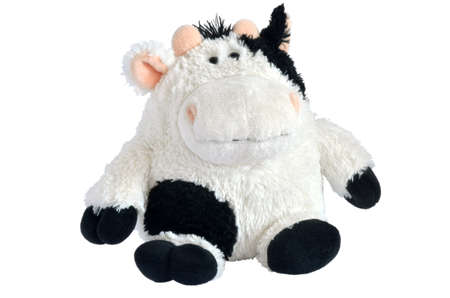 stuffed toys: Soft cow toy isolated with path on white background