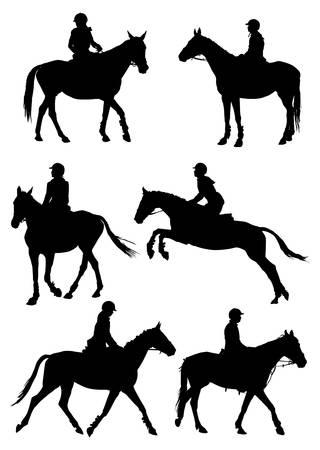 Zes silhouetten van jockey rijden raspaard. illustratie.