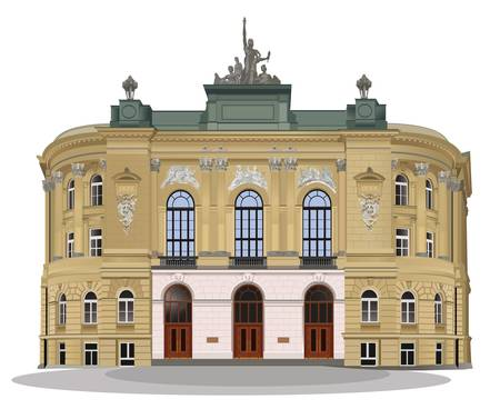 neoclassical: Warsaw School of Technology exterior facade. Color vector illustration. Illustration