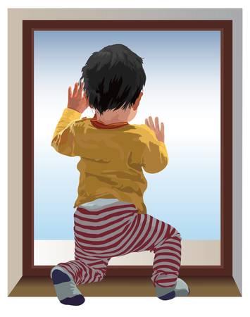 Pequeño niño de un año de edad se arrodillan y mirando a la ventana, esperando a mamá. Color de ilustración vectorial.