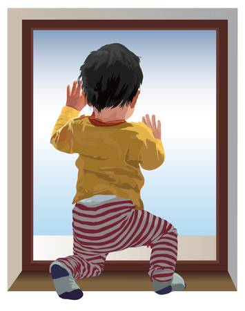 alone person: Small one year old child kneel and looking at window, waiting for mama. Color vector illustration. Illustration