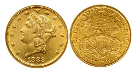 monete antiche: Venti dollari di monete d'oro dal XIX secolo chiamato Liberty. Isolato con il percorso su bianco.