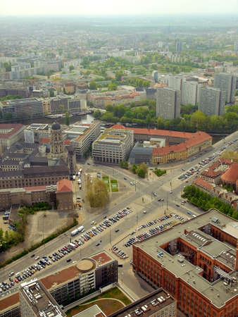 image date: Berlin city panorama from Alexander Platz tower. Editorial image. Date is second of May 2010 .