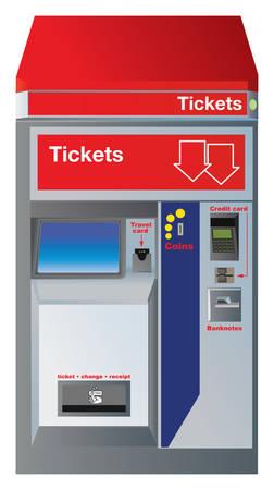Fahrscheinautomat mit Steckplätzen für Kreditkarte, Münzen, Banknoten und Schublade zu holen Änderung zzgl Quittung. Basierend auf echte deutsche Konstruktion mit kleinen Unterschieden. Vector Farbe Abbildung. Standard-Bild - 33315617