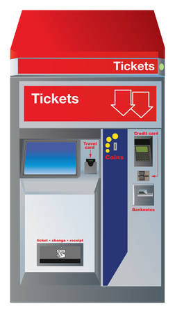 Ticket machine with slots for credit card, coins,banknotes and drawer to pick up change plus receipt. Based on real German construction with small differences. Vector color illustration. Illustration