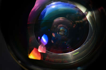 wide angle lens: Wide angle lens close up image with light reflexions. Macro image.