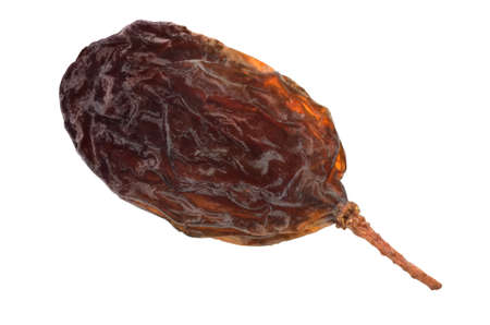 Single raisin fruit isolated with path on white background. Macro image. Foto de archivo