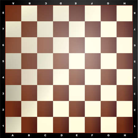 Square board divided into sixty four alternating dark and light squares, used for playing chess or checkers. Color illustration.