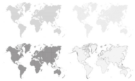 World map as black and white graphic background. Four simple versions. Vector illustration.