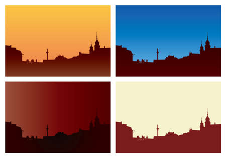 Old Town Warsaw vector illustration. Four color versions.
