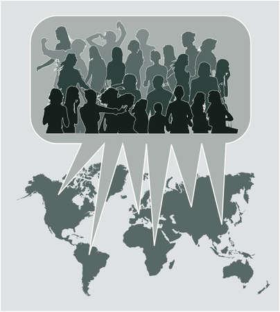 People opinion around world. Vector illustration. Stock Photo