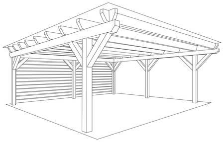 Wooden storage space project. Kind of shed or garage. Vector illustration. Ilustrace