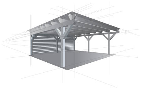 Wooden storage space project. Kind of shed or garage. Vector illustration. Guide outlines creating perspective view for drawing.