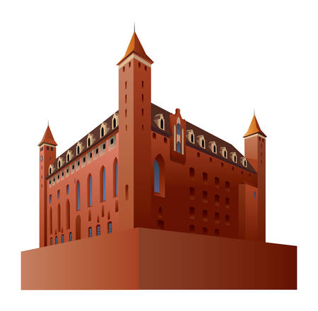 Gothic castle in Gniew in Poland. Vector color illustration.