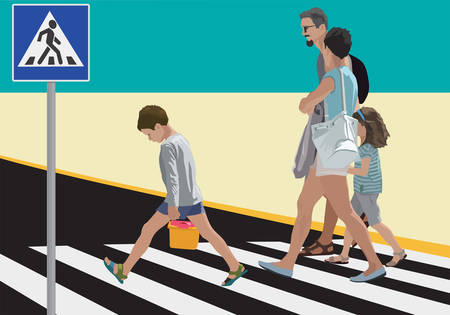 Family crossing street. Vector color illustration.