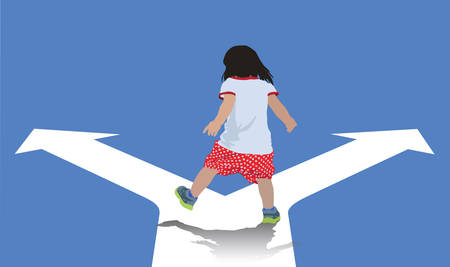 Kid walking and choosing his own way.
