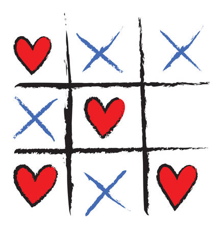 Tic Tac Toe game with hearts and crosses. Love is winning. Vector illustration on white background.