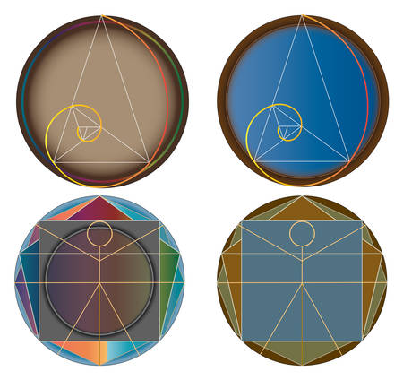 Golden cut four abstract icons as color vector illustration. Isolated on white background.