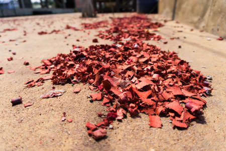 The shatters of fire crackers after chinese new years celebrating day