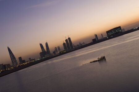 Manama cityscape in the night, Bahrain photo