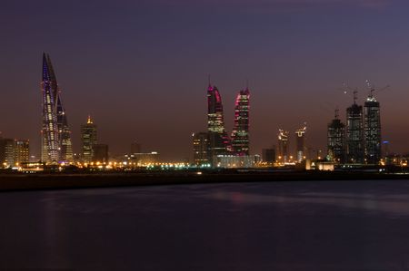 Manama cityscape in the night, Bahrain photo
